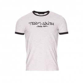 Tee-shirt Ticlass 3 Teddy Smith blanc mélangé à liserés anthracite