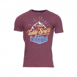 Tee-shirt col rond Tiliot Teddy Smith en coton bordeaux floqué