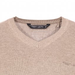 Pull col V Teddy Smith Pulser en coton beige chiné