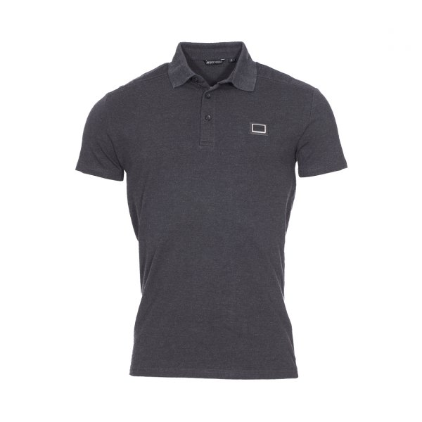 Polo Antony Morato en coton stretch gris anthracite chiné à coutures apparentes