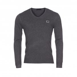 Pull col V Antony Morato en polyamide et viscose stretch gris anthracite chiné