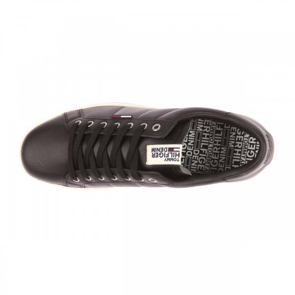 Baskets Hilfiger Denim noires en cuir