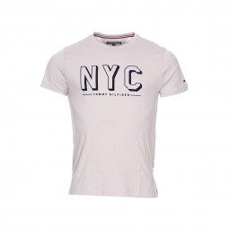 81200391fa510 Tee-shirt col rond Finn Tommy Hilfiger en coton gris clair floqué en  velours bleu ...