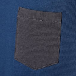 Tee-shirt col V Name it en coton biologique stretch bleu cobalt à poche poitrine anthracite