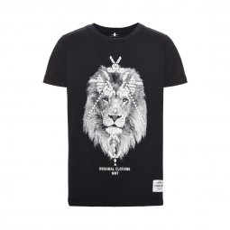 Tee-shirt col rond Name it en coton biologique stretch noir à imprimé Lion