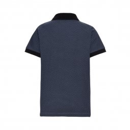Polo Name it en coton biologique stretch bleu indigo à imprimés triangles noirs