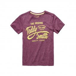 Tee-shirt col rond Teddy Smith Junior Tavery bordeaux chiné floqué en jaune moutarde