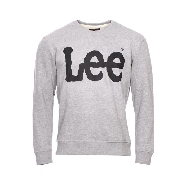 Sweat Lee gris logo floqué en noir