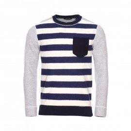 Pull col rond Scotch & Soda à rayures bleues et blanches et manches grises