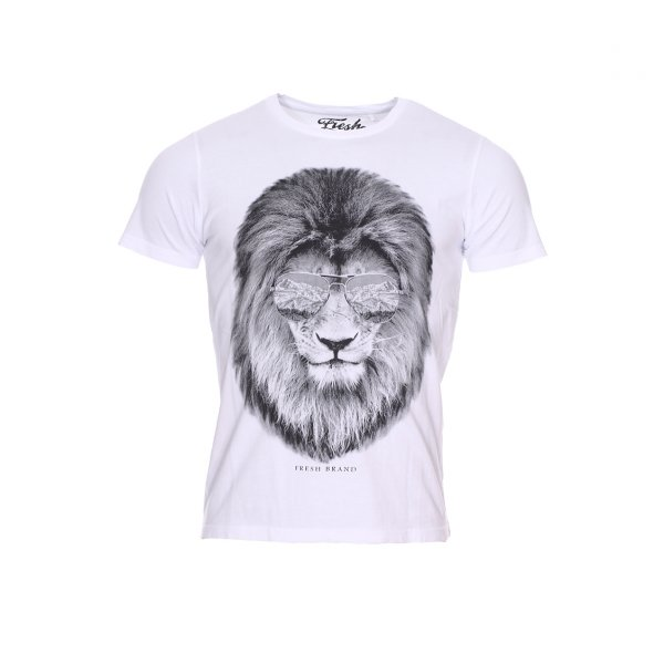 Tee-shirt col rond The Fresh Brand en coton gris chiné à imprimé Lion
