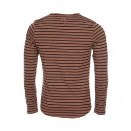 Tee-shirt manches longues col rond Chasin' Bopping en coton stretch marron à rayures noires