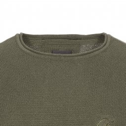 Pull col rond Chasin' Basal en maille vert sapin