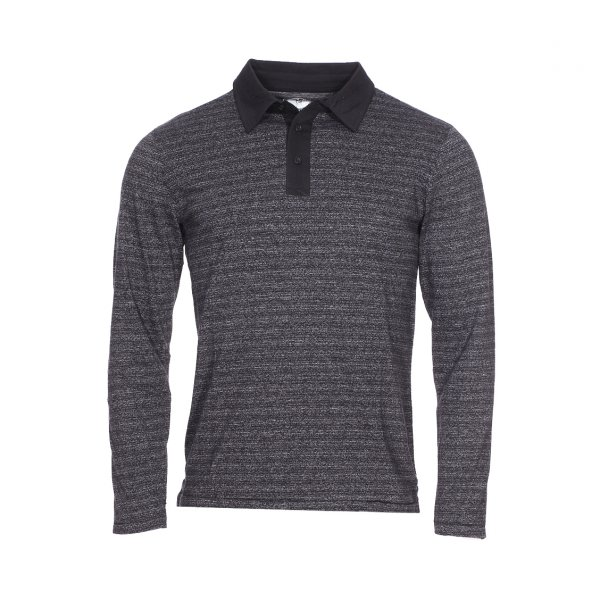 Polo manches longues Biaggio noir chiné