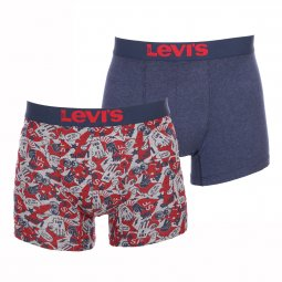 Lot de 2 boxers Levi's en coton stretch bleu marine et rouge à imprimé cartoon