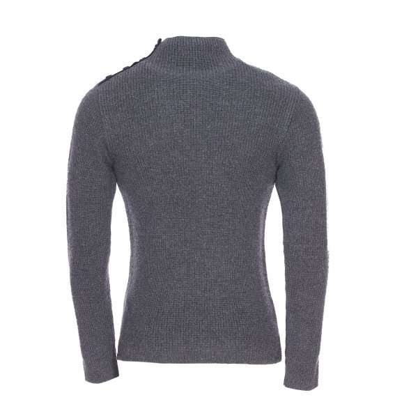 Pull en laine Armor Lux gris anthracite col montant