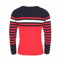 Pull col rond Armor Lux bleu marine à rayures rouges et blanches