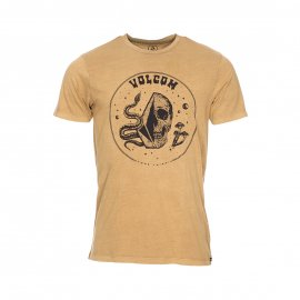 Tee-shirt col rond Volcom Stone Trippin en coton ocre floqué
