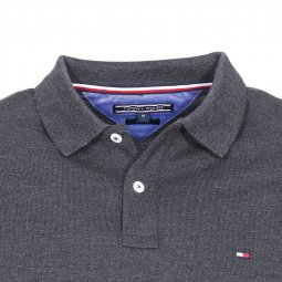 Polo manches longues Luxury Tommy Hilfiger en maille piquée gris anthracite