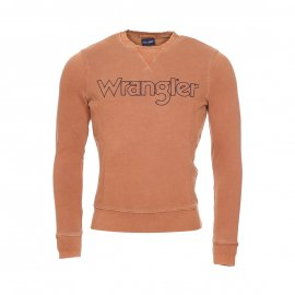 Sweat col rond Wrangler en coton marron clair brodé
