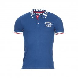 Polo Kaporal Junior en coton stretch bleu brodé sur le col