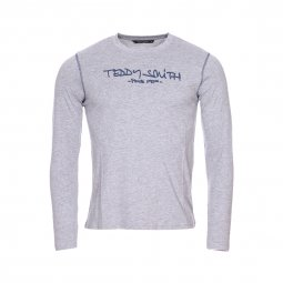Tee-shirt manches longues col rond Teddy Smith Junior Ticlass en coton gris chiné floqué en bleu indigo