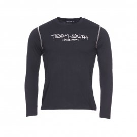 Tee-shirt manches longues col rond Teddy Smith Junior Ticlass en coton noir floqué en rose poudré