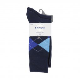 Lot de 2 paires de chaussettes Everyday Mix Burlington en coton stretch bleu marine et bleu marine à motif jacquard