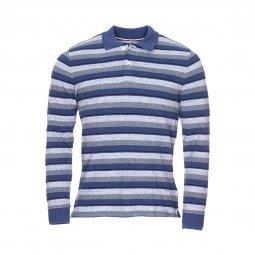 8e6a94dc1cdf3 Polo manches longues Tommy Hilfiger Junior bleu jean à rayures grises et  bleues ...