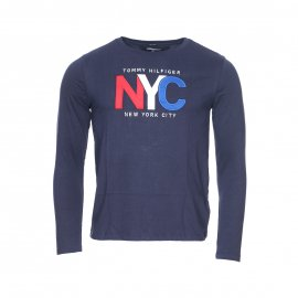 Tee-shirt manches longues col rond Tommy Hilfiger Junior bleu marine brodé NYC