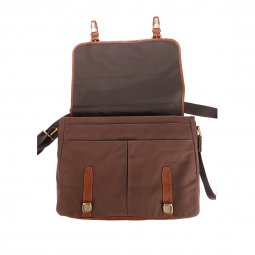 Besace Graham Fossil en toile et cuir chocolat, style cartable
