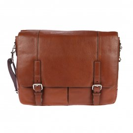 Porte-documents/ordinateur 15 pouces Graham Fossil en cuir cognac, style cartable