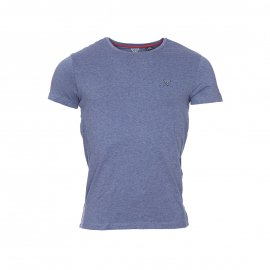 Tee-shirt col rond Guess en coton stretch bleu chiné