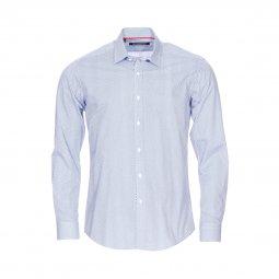 Chemise cintrée Gianni Ferrucci en coton bleu marine à motifs indigo et  blancs ... 991a1ea2e34