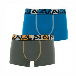 Lot de 2 boxers Athena Junior en coton bio stretch kaki et bleu cyan
