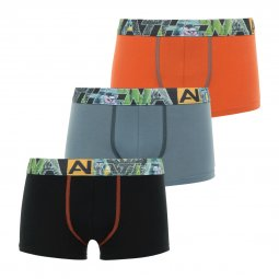 Lot de 3 boxers Athena Junior en coton stretch noir, gris et orange à ceinture monogrammée