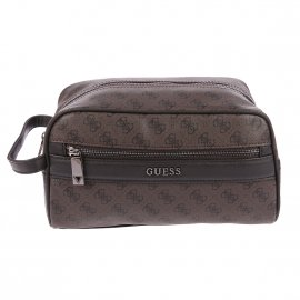 Trousse de toilette Guess City Logo en simili-cuir marron monogrammé