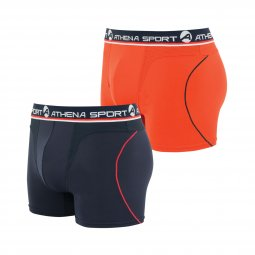 Lot de 2 boxers Athena en polyamide mélangée stretch noir et orange
