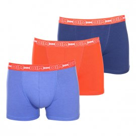Lot de 3 boxers Dim en coton stretch respirant bleu marine, bleu pétrole et orange