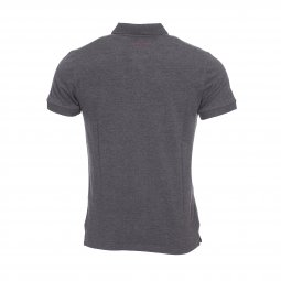 Polo Teddy Smith Pilote en piqué de coton gris anthracite