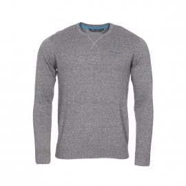 Pull col rond Teddy Smith Play Mouline en coton gris anthracite chiné