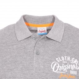 Polo Jack & Jones en coton mélangé gris chiné brodé en orange et blanc