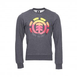 Sweat col rond Element Logo Fill en coton gris anthracite chiné floqué du logo