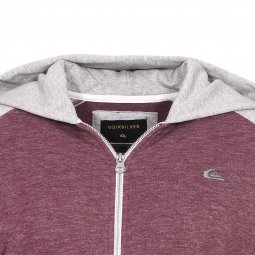 Sweat à capuche zippé Quiksilver Junior Everyday en coton mélangé bordeaux chiné à manches gris chiné