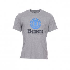 Tee-shirt col rond Element Vertical en coton gris chiné floqué