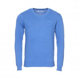 Pull col V Teddy Smith Pulser en coton bleu chiné