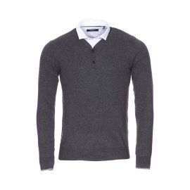 Pull Teddy Smith Pliter en coton gris anthracite