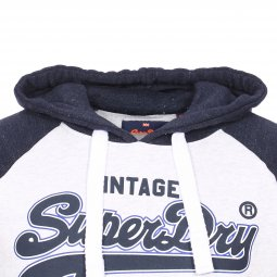 Sweat à capuche Superdry Premium Goods Raglan gris chiné