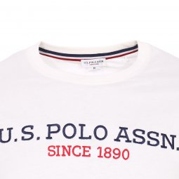 Tee-shirt col rond U.S. Polo Assn. Institutional  en coton blanc brodé
