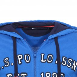 Sweat à capuche zippé U.S. Polo Assn. United States Fleece bleu roi