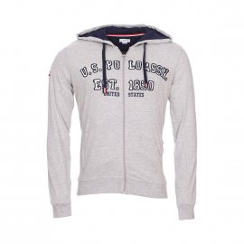 Sweat à capuche zippé U.S. Polo Assn. United States Fleece gris chiné
